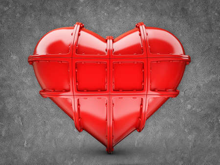 red conceptual heart isolated on a grey background Stock Photo - 16481874