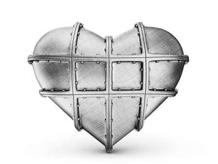 steel heart isolated on a white background Stock Photo - 16481863