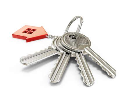 house keys: steel key isolated on a white background