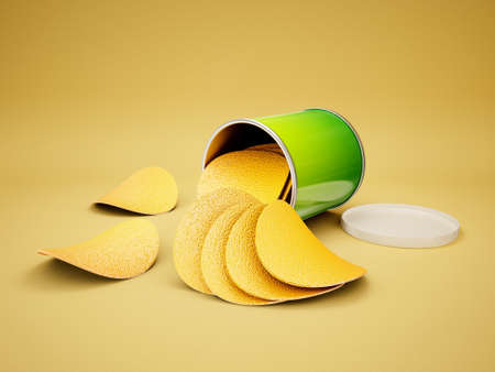 fried potatoes: conceptual 3d chips isolated on a yellow background