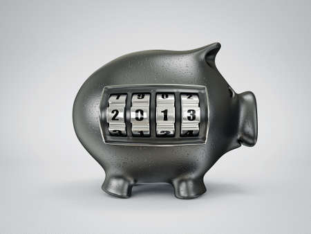 conceptual new year piggy isolated on a light background photo
