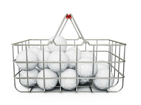 golf balls in basket isolated on a white photo