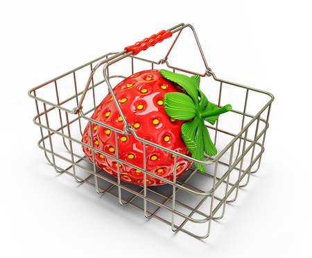 strawberry in basket isolated on a white background photo