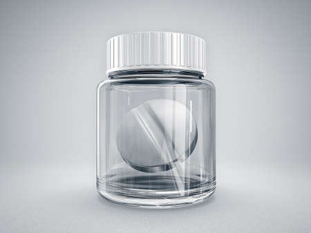 white pill and glass bottle isolated on a light background Stock Photo - 16933167