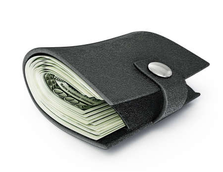 black fat wallet isolated on a white  background photo