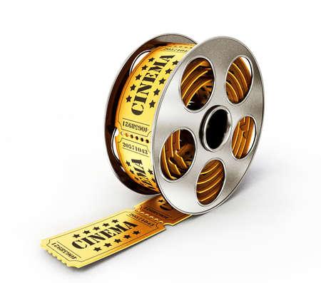 movie icon: metal babin with a yellow ticket on white Stock Photo