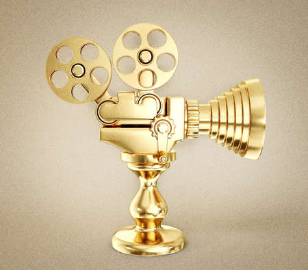 gold record: film camera cup isolated on a light background Stock Photo