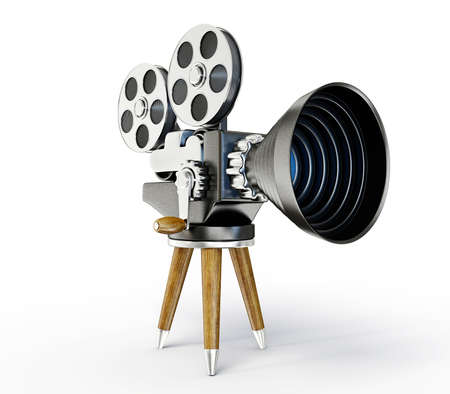film history: film camera isolated on a white background Stock Photo