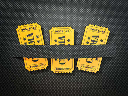 theater background: film ticket isolated on a black background Stock Photo