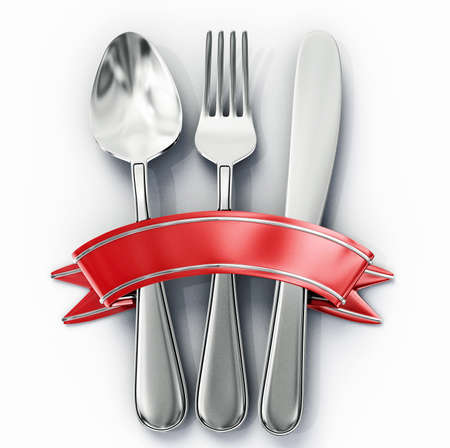 fork and spoon: spoon, fork and knife isolated on a white background Stock Photo