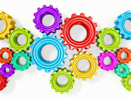 colorful gears isolated on a white background