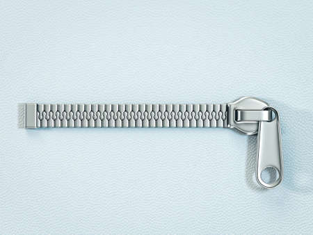 metal zipper isolated ona blue background Stock Photo