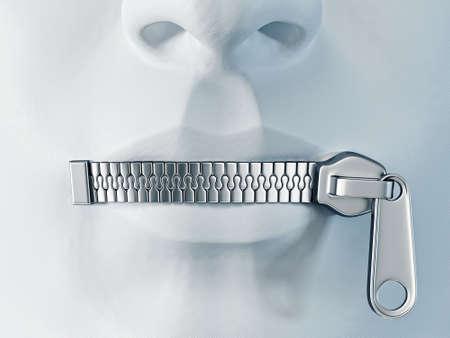 stille Gesicht mit einem Metall-Rei�verschluss auf einem Lippen