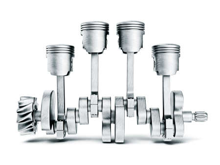 pistones: pistones de acero aislado en un fondo blanco