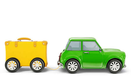 yellow car: small car isolated on a white background