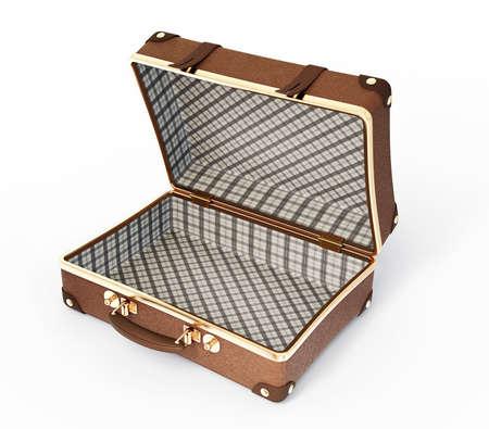 maletas de viaje: maleta abierta aislada en un fondo blanco Foto de archivo
