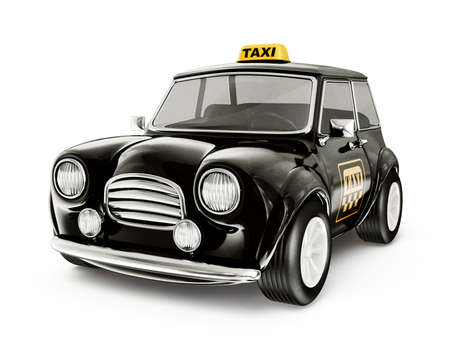 mini: small taxi  isolated on a white background