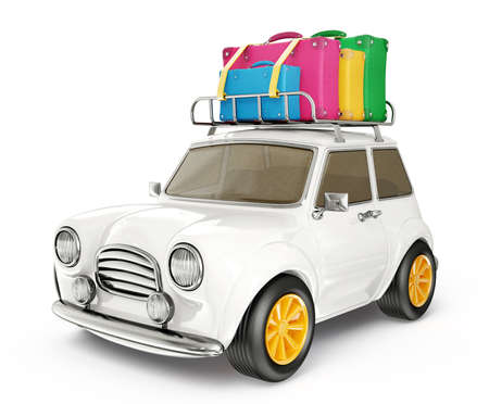 car trunk: small car isolated on a white background