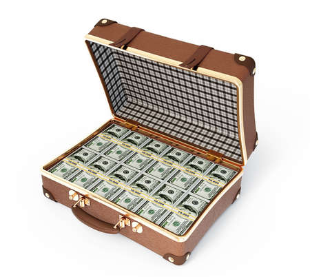 leather suitcase with money isolated on a white background photo