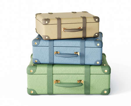 antique suitcase: pastel suitcase isolated on a white background