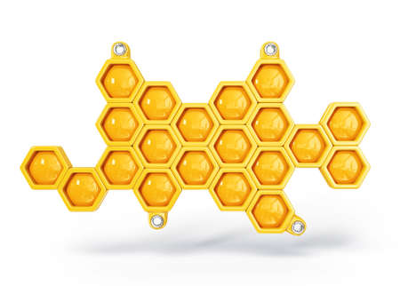 honey cell: yellow honeycomb isolated on a white background