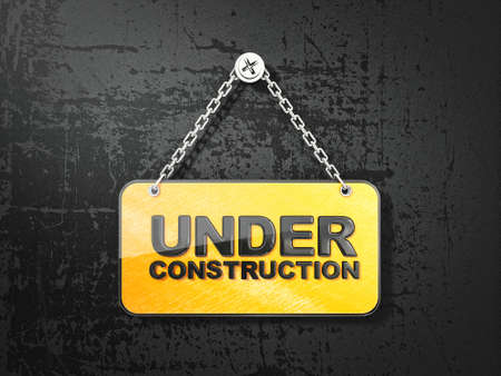 metal construction: yellow board on a black background. under construction