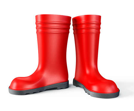 safety boots: red gumboot isolated on a white background