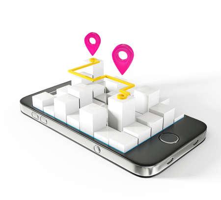 elhelyezkedés: mobil térképen elszigetelt fehér alapon Stock fotó