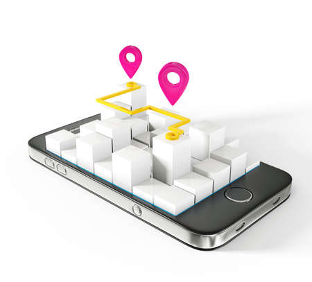 travel location: mobile map isolated on a white background