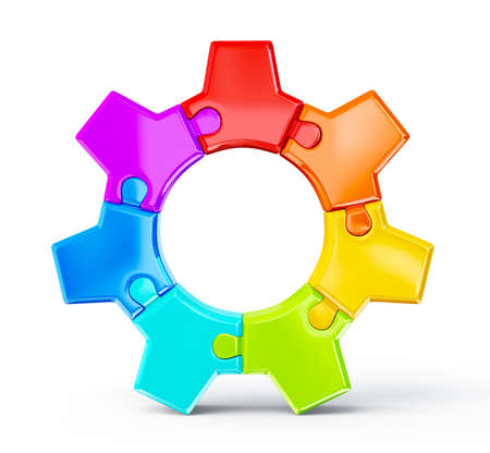 team icon: colorful gear isolated on a white background Stock Photo