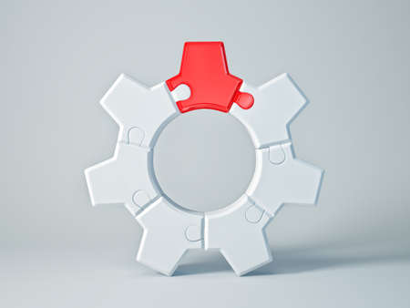 gearwheel: white gear with a red cog isolated Stock Photo