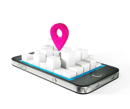 mobile map isolated on a white background photo