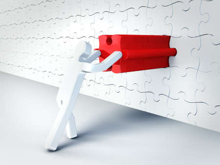 man push red puzzle in a wall photo