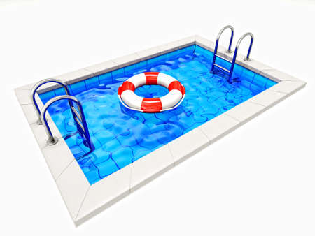 poolside: lifebelt in a swimming pool isolated on a white. Stock Photo