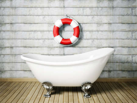 bathtub: vintage bathtub in room with grunge wall Stock Photo