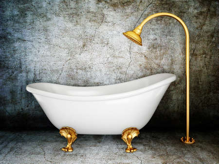 bath room: vintage bathtub in room with grunge wall Stock Photo