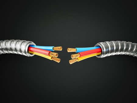 descarga electrica: cable el�ctrico aislado en un fondo negro