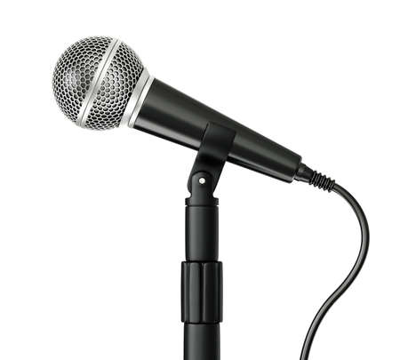 metal microphone isolated on a white background photo