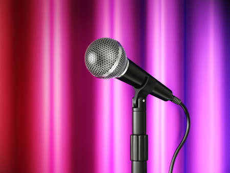 metal microphone isolated on a purple  background photo