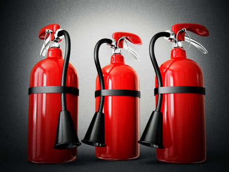 suppression: fire extinguisher isolated on a white background Stock Photo