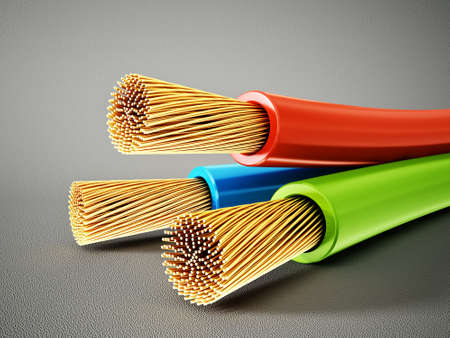 insulation: electric cable isolated on a grey  background
