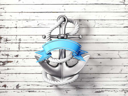 3d boat: steel anchor isolated on a wooden background
