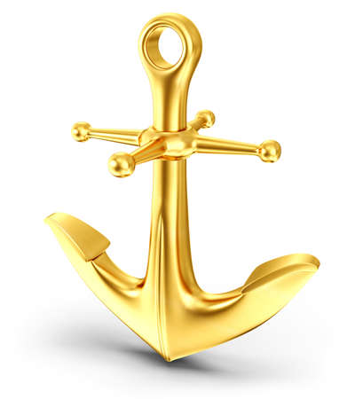 anchor background: gold  anchor isolated on a white background