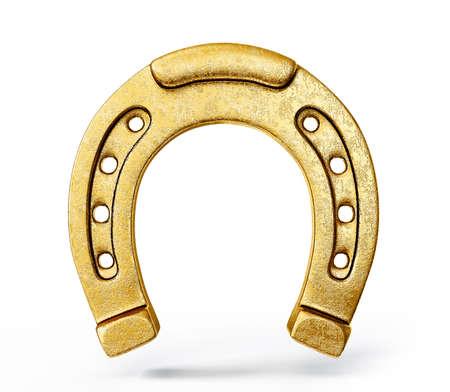 ferro di cavallo d'oro isolato su uno sfondo bianco