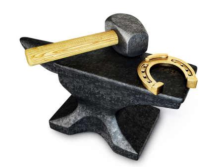 golden horseshoe:   horseshoe and hammer isolated on a white