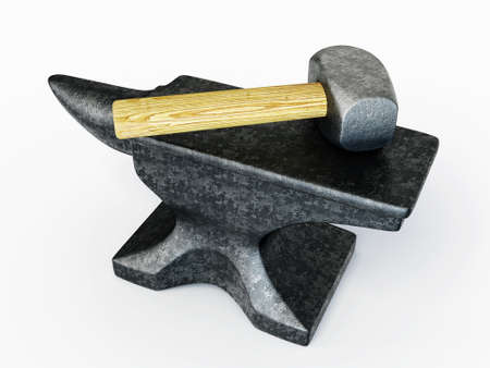 anvil: black anvil and hammer isolated on a white