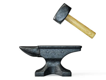 blacksmith: black anvil and hammer isolated on a white
