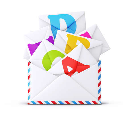levelezés: mail borítékot elszigetelt fehér alapon