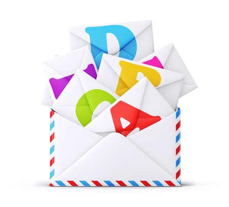 correspondence: Sobre del correo aislado en un fondo blanco