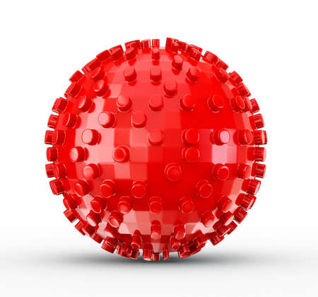 red sphere: red sphere isolated on a white background Stock Photo